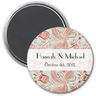 Wedding - Oriental Persian Paisley, Swirls - Red 3 Inch Round Magnet