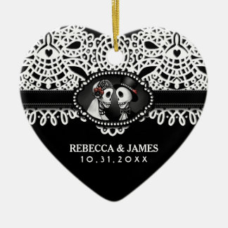 Wedding Ornament Black White Skeletons Lace Names