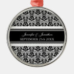 Wedding Ornament Favor Black and White Damask