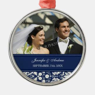 Wedding Ornament Favor Blue White Damask