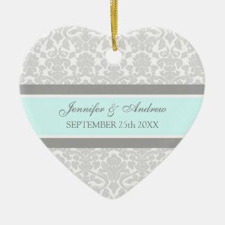 Wedding Ornament Favor Gray Blue Damask