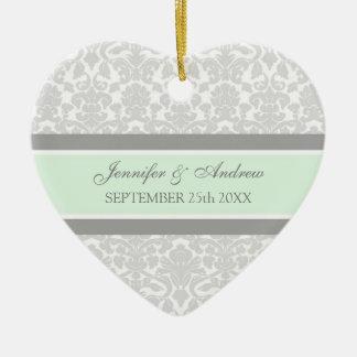 Wedding Ornament Favor Gray Mint Damask