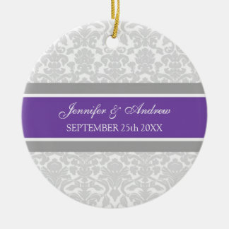 Wedding Ornament Favor Gray Plum Damask