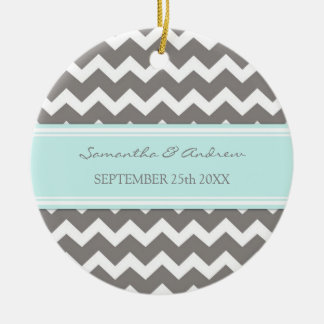 Wedding Ornament Favor Grey Blue Chevron