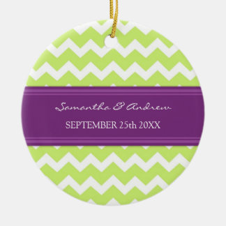 Wedding Ornament Favor Lime Plum Chevron