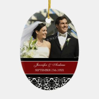 Wedding Ornament Favor Red Black Damask