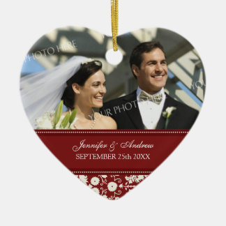 Wedding Ornament Favor Red White Damask