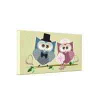 Wedding Owls Art Canvas Print
