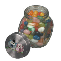 Wedding Owls Art Jelly Jar Gifts Glass Candy Jars at Zazzle