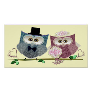 Wedding Owls Art Poster