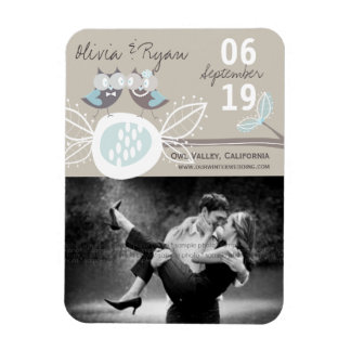 Wedding Owls On Branch Save The Date Announcement Rectangular Photo Magnet