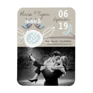 Wedding Owls On Branch Save The Date Announcement Rectangle Magnet