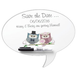 Wedding Owls Save the Date Dry Erase Whiteboard