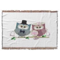 Wedding Owls Throw Blanket