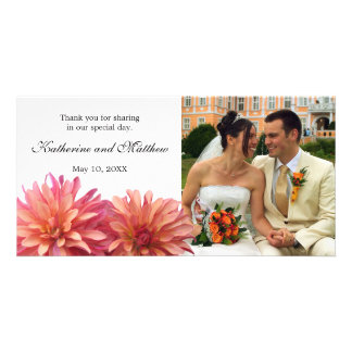 Wedding Painted Pink and Coral Dahlia Flower Custom Photo Card