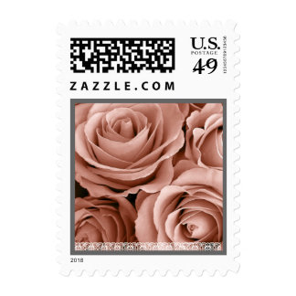 Wedding PALE PINK Roses SILVER &  LACE Trim Postage