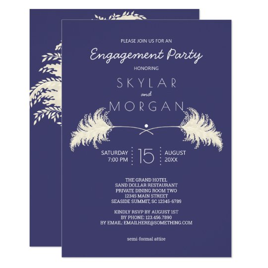 Wedding Pampas Grass White On Navy Engagement Invitation