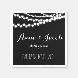 Wedding paper napkins Cocktail black string lights
