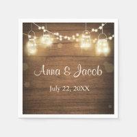 Wedding paper napkins Rustic wood string lights