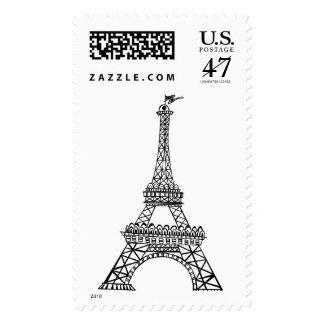 Wedding Paris France Eiffel Tower Sketch Postage