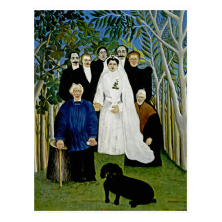 Wedding Party and a Prominent Dog -  by Rousseau Postcard