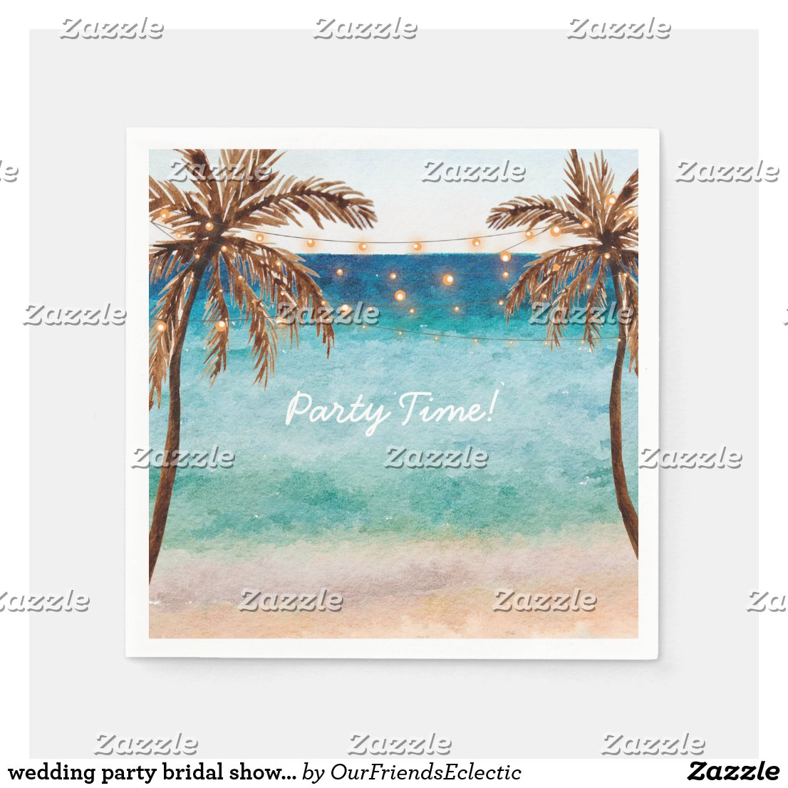 wedding party bridal shower beach napkins