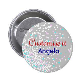 Wedding party confetti dove grey button
