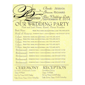 Wedding Party Contact Info Form Flyer