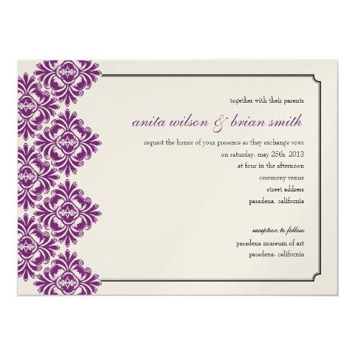 Wedding Party Damask Plum Purple Invitation