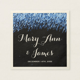 "Wedding Party Falling Stars ""Sapphire Blue"" Napkin"