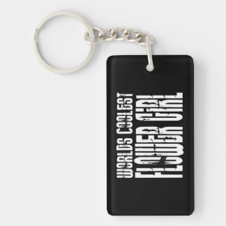 Wedding Party Favors : Worlds Coolest Flower Girl Double-Sided Rectangular Acrylic Keychain