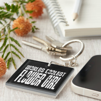 Wedding Party Favors : Worlds Coolest Flower Girl Single-Sided Square Acrylic Keychain