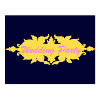 Wedding Party Golden Yellow Vintage Style Banner Post Card