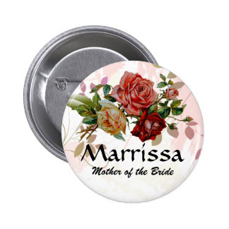 Wedding party name button Rose floral