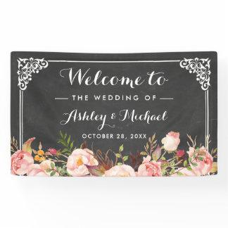 Wedding Party Vintage Chalkboard Rustic Floral Banner