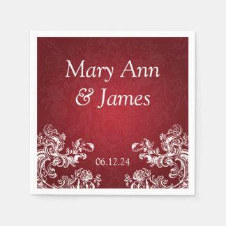 Wedding Party Vintage Swirls 2 Red Paper Napkin