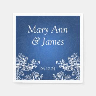 Wedding Party Vintage Swirls 2 Sapphire Blue Paper Napkin