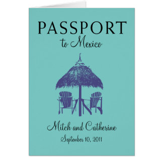 Wedding Passport Invitation to Cancun Mexico Greeting Cards