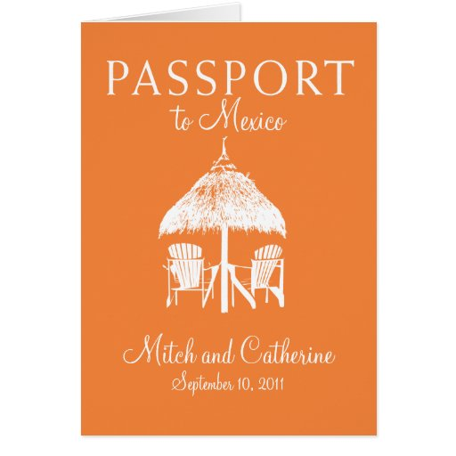 Wedding Passport Invitation to Mexico Stationery Note Card