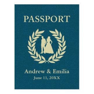 wedding passport postcard