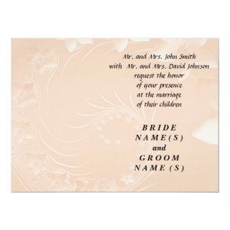 Wedding - Pastel Brown Abstract Flowers 6.5x8.75 Paper Invitation Card