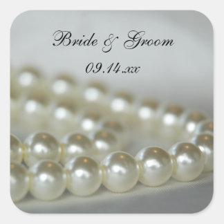 Wedding Pearls Envelope Seals Square Sticker