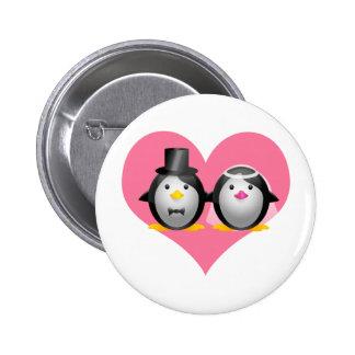 Wedding Penguins Pinback Button