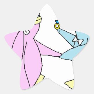 Wedding Penguins Star Sticker