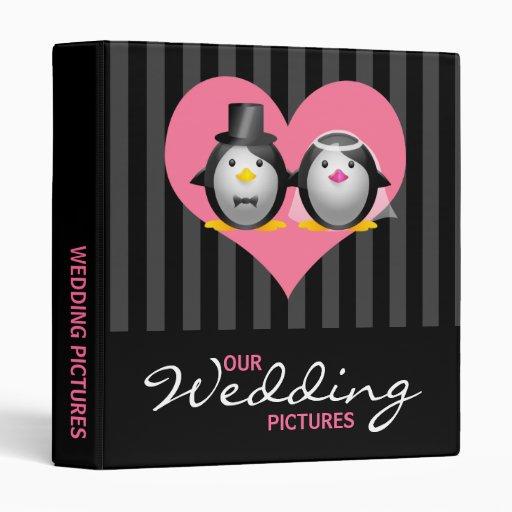 Wedding Penguins with Stripes 3 Ring Binder