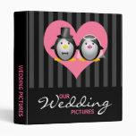 Wedding Penguins with Stripes Vinyl Binder