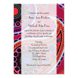 Wedding - Persian Paisley, Dots - Red Blue 5x7 Paper Invitation Card