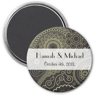 Wedding - Persian Paisley, Swirls - Black Yellow 3 Inch Round Magnet