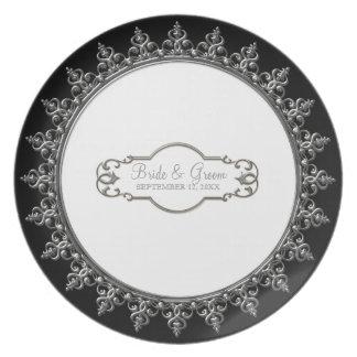 Wedding Personalized Classic Baroque Swirl Plates