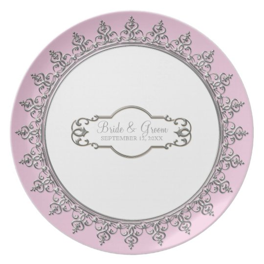 Wedding Personalized Vintage Baroque Swirl Plates